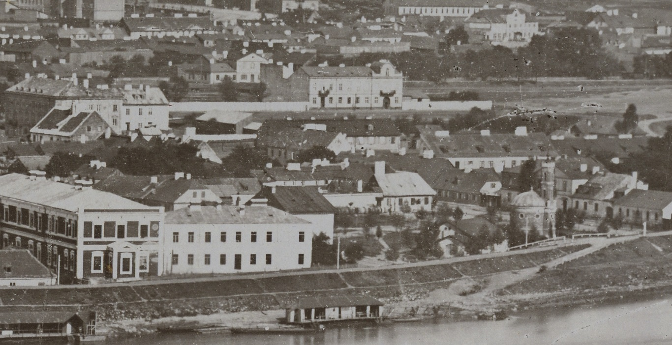 Czarno-białe zdjęcie fragment panoramy Pragi.